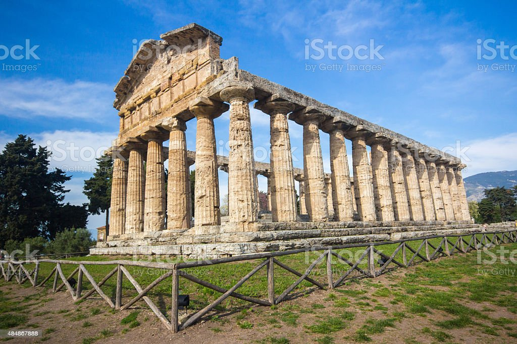 Temple of Athena, Paestum, Italy stock photo