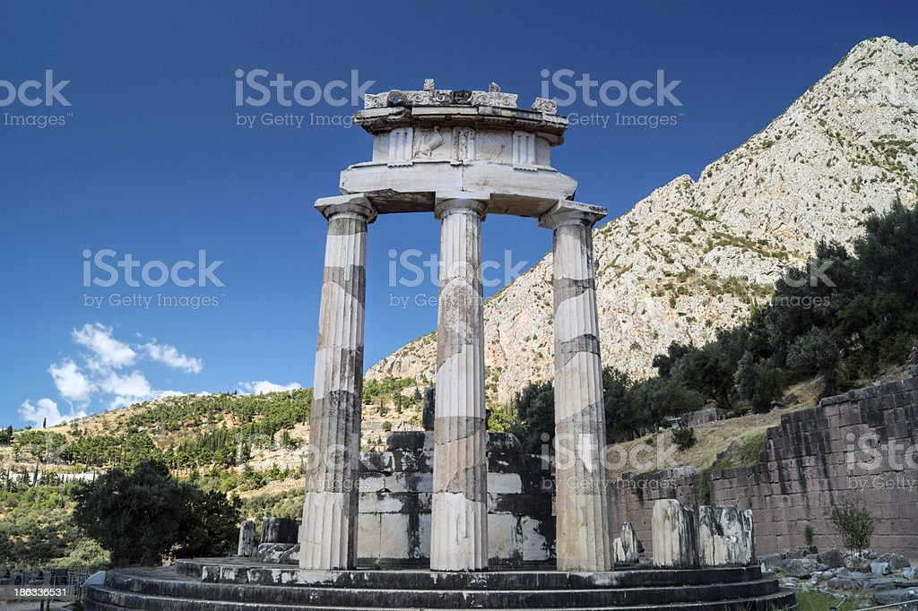 Temple of Athena pronoia at Delphi oracle archaeological site stock photo