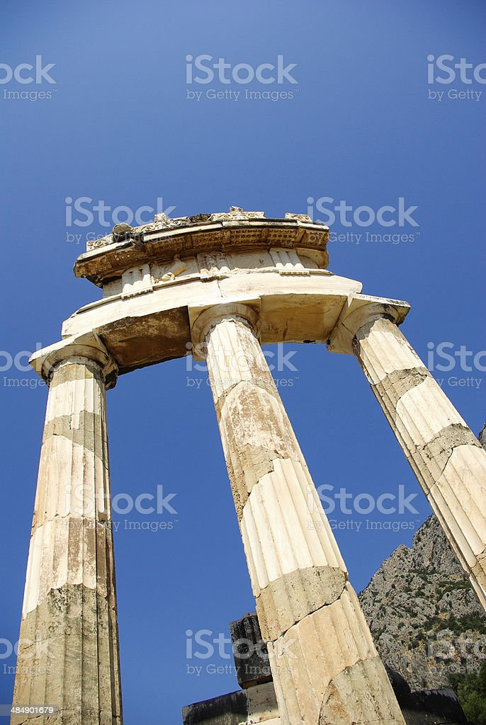 Temple of Athena Pronoia at Delphi stock photo