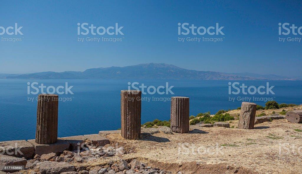 Temple of Athenain Assos against Lesbos stock photo