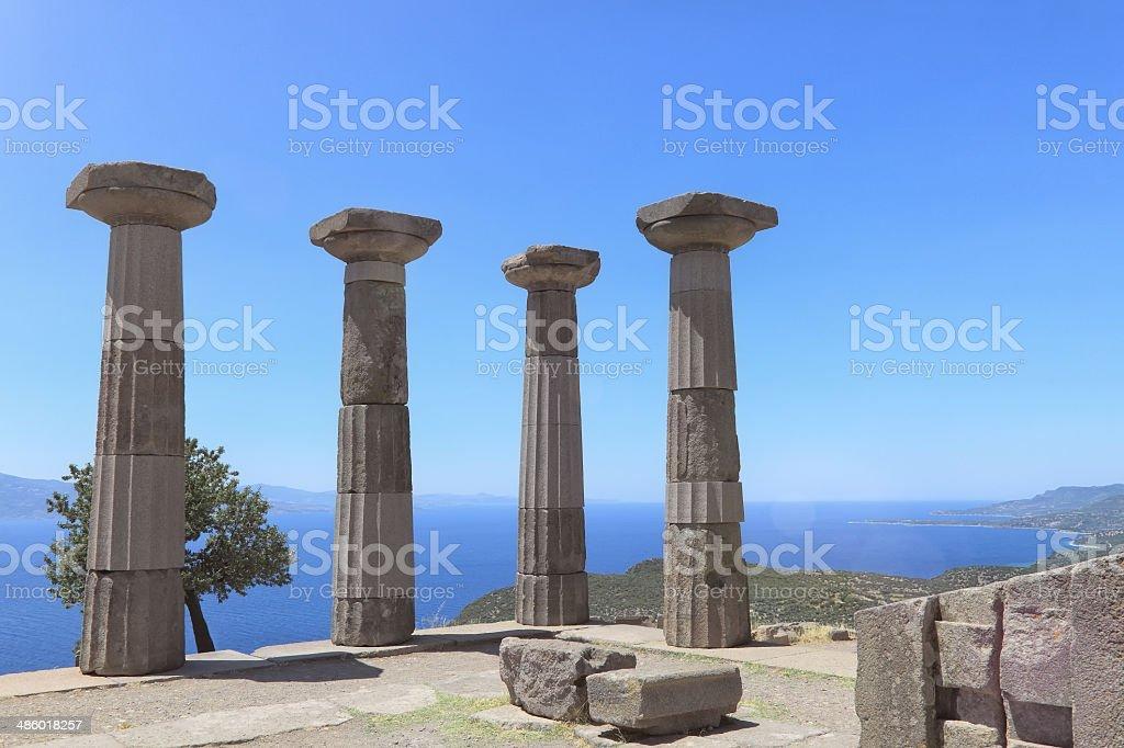 Temple of Athenain Assos, Turkey stock photo
