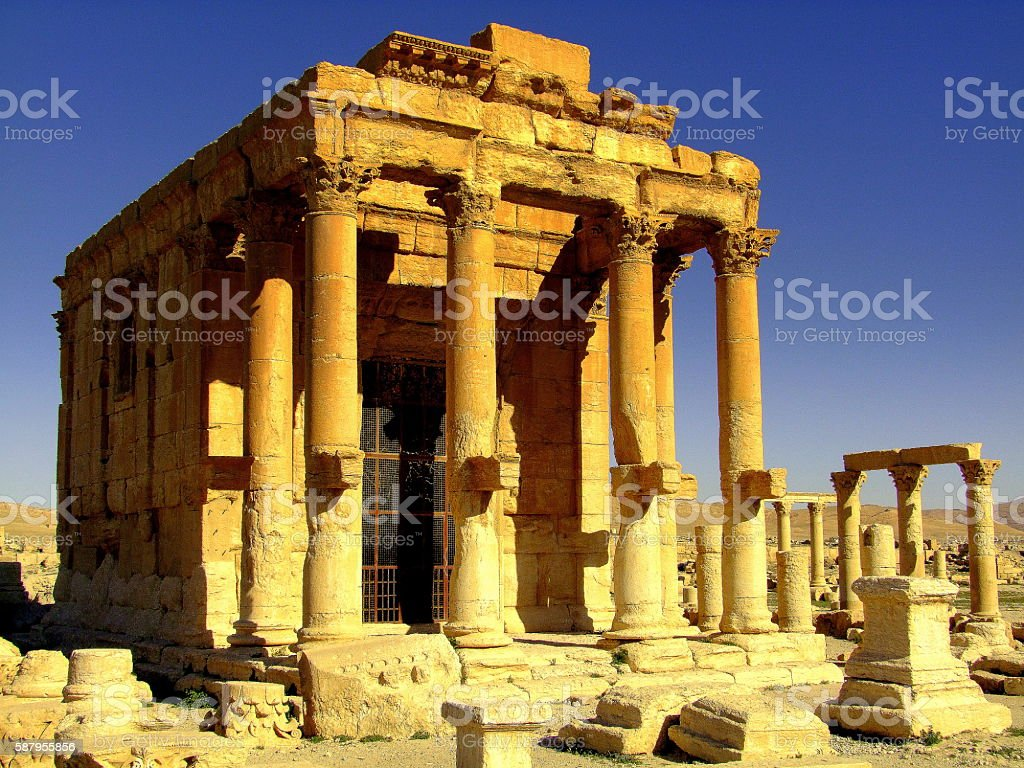Temple of Baal Shamin, Palymra, Syria stock photo