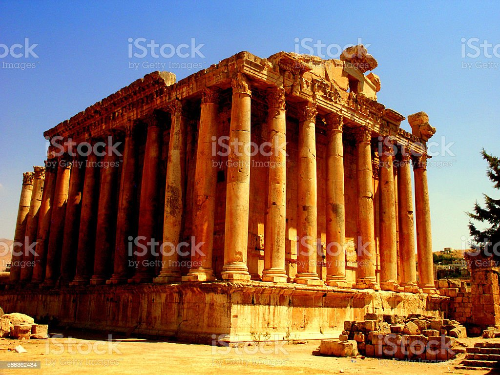 Temple of 'Bacchus' Baalbek Lebanon stock photo