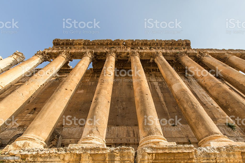 Temple of Bacchus in Baalbeck stock photo