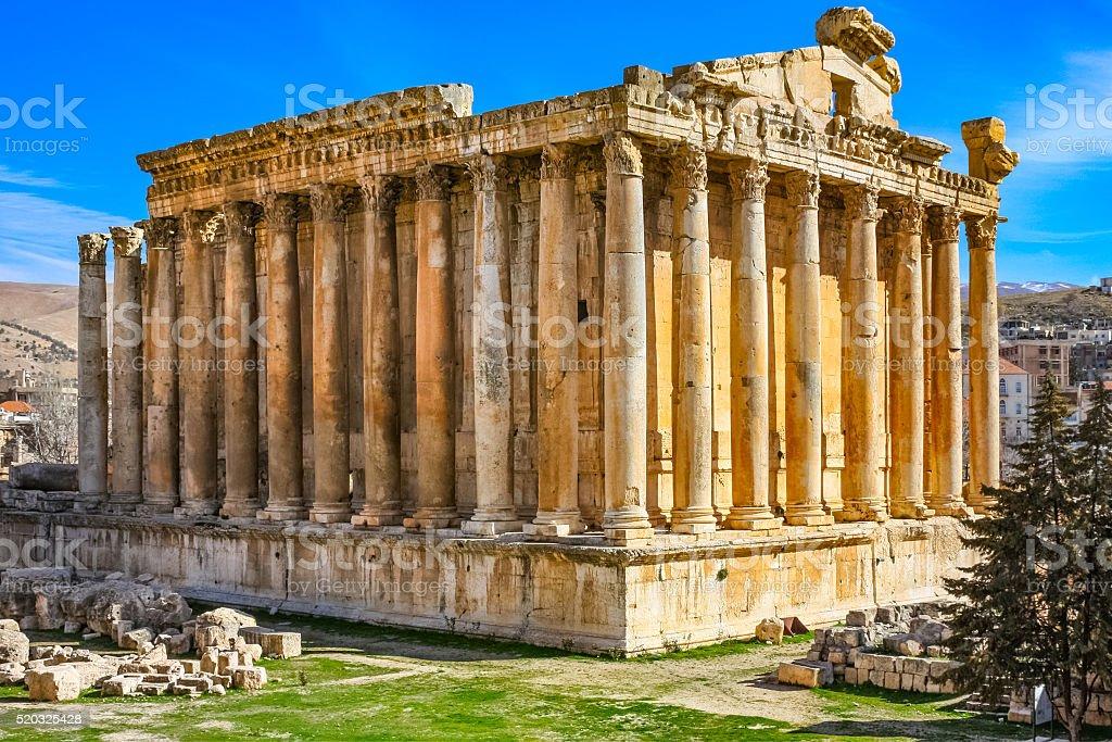 Temple of Bacchus in Baalbek Lebanon stock photo