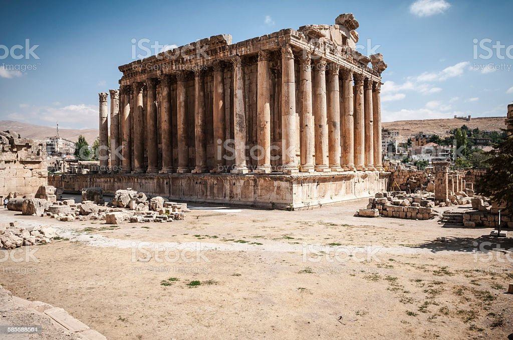 Temple of Bacchus in Baalbek, Lebanon stock photo