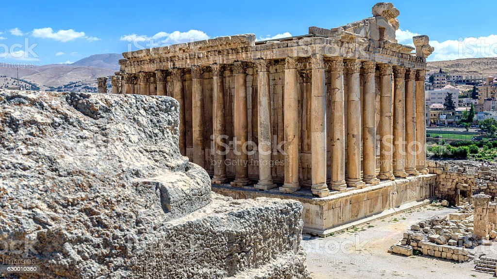 Temple of Bacchus in Baalbek stock photo