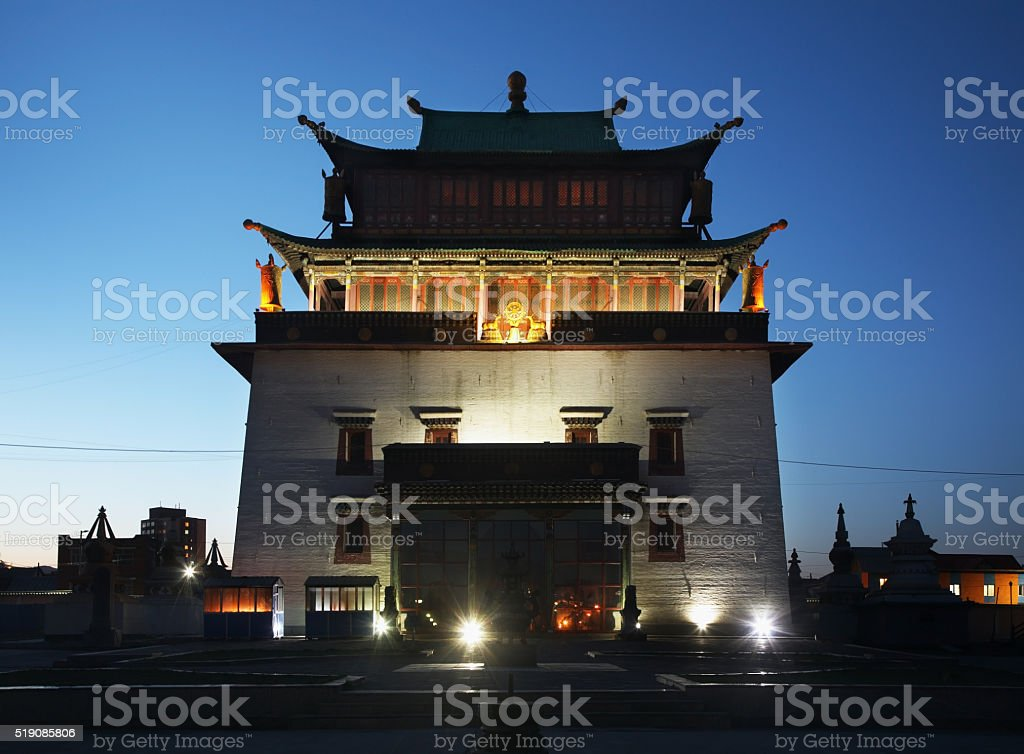 Temple of Boddhisattva Avalokiteshvara. Gandantegchinlen Monastery in Ulaanbaatar. Mongolia stock photo