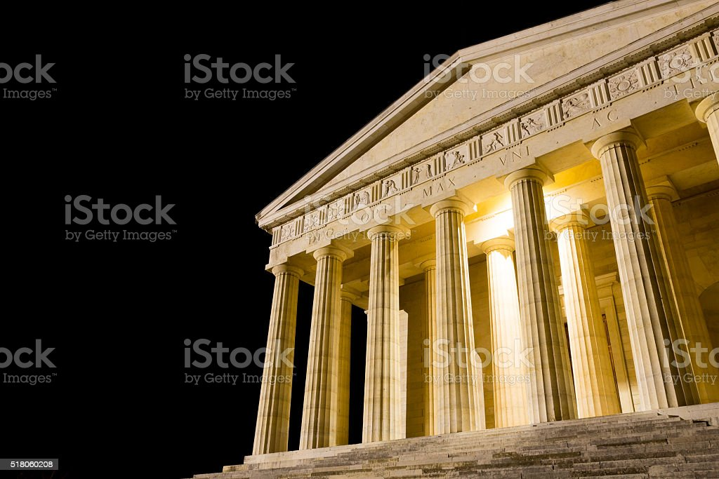 Temple of Canova night view. Roman columns stock photo