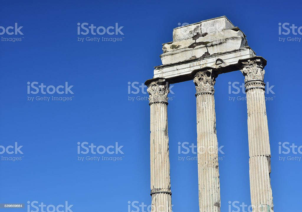 Temple of Castor and Pollux (with copy space) stock photo