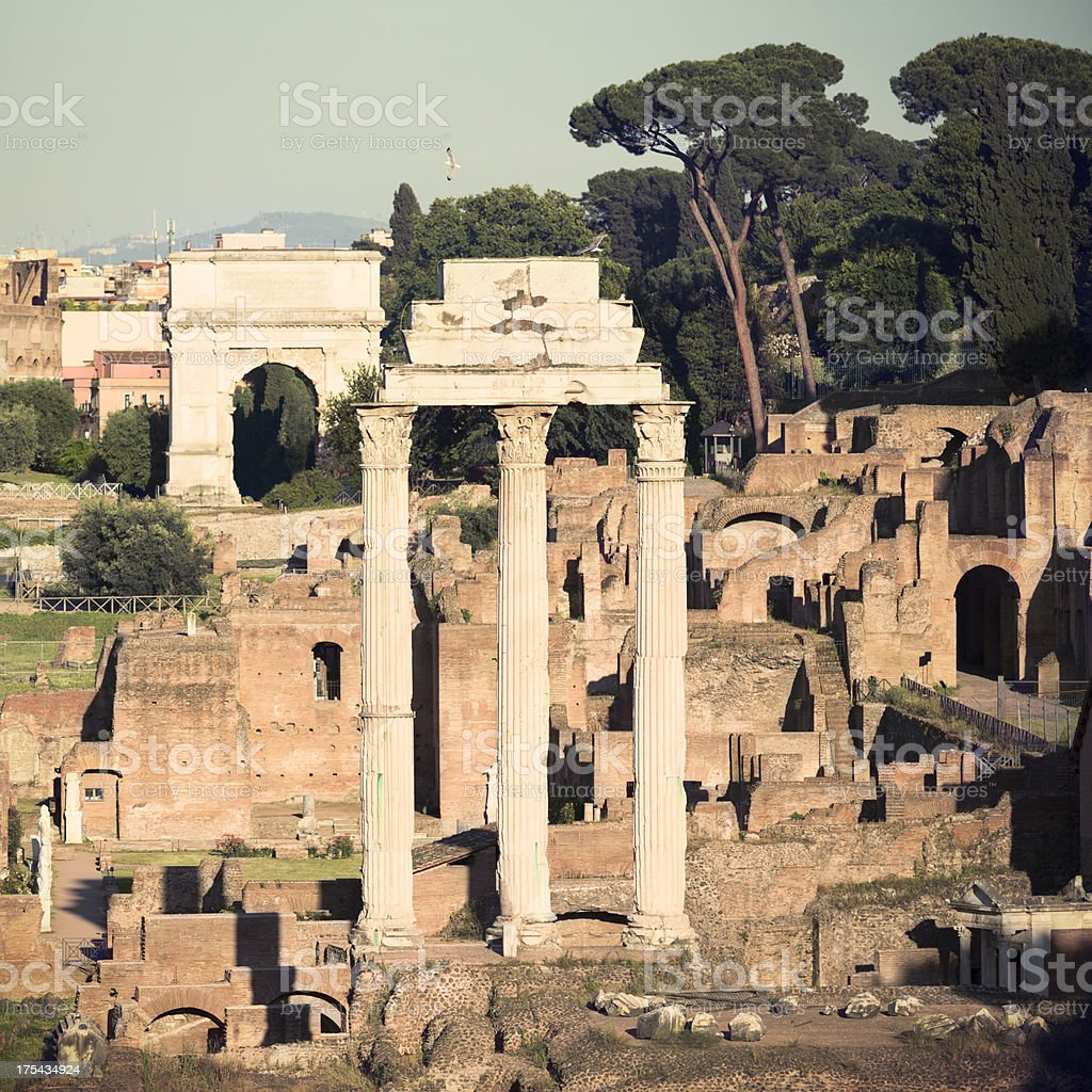 Temple of Castor and Pollux, Roman Forum royalty-free stock photo