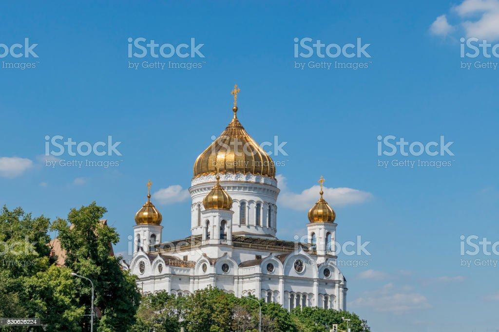 Temple of Christ the Savior in summer stock photo