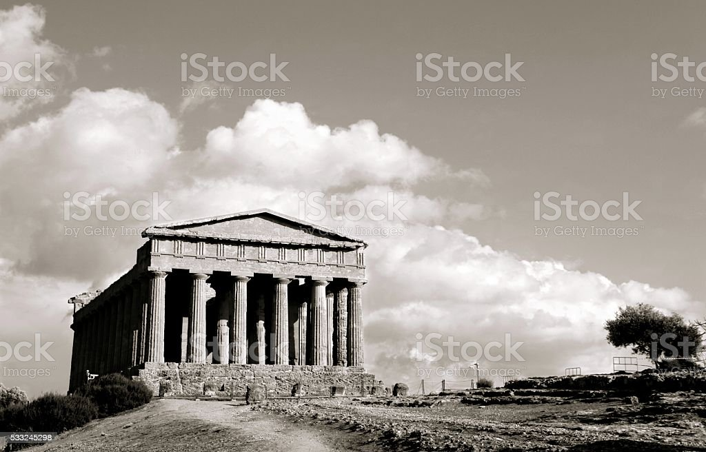 Temple of Concord Agrigento Sicily Black and White stock photo