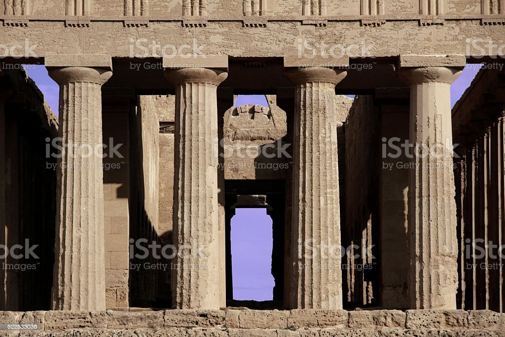 Temple of Concord Agrigento Sicily Front view stock photo