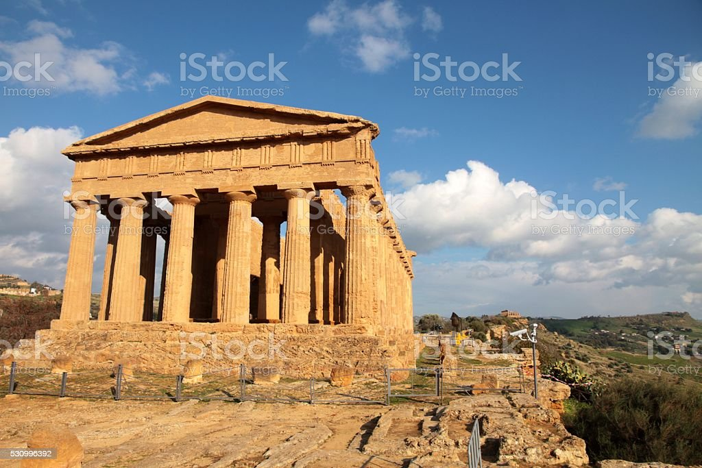 Temple of Concord Agrigento Valley of temples Sicily stock photo
