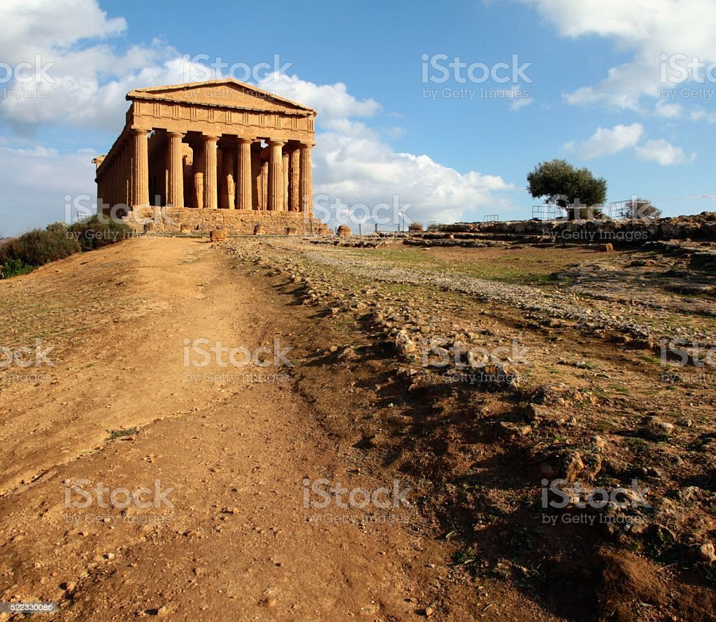 Temple of Concord Valley of Temples Agrigento Sicily stock photo