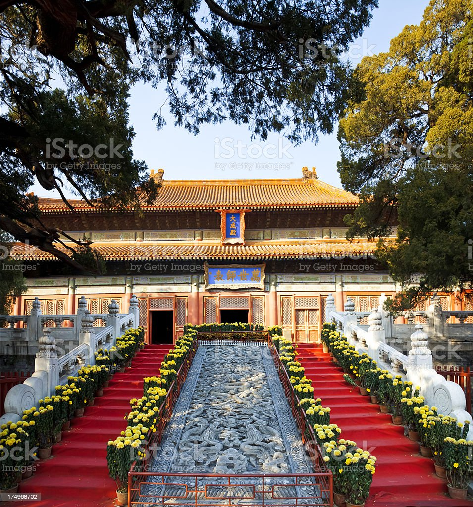 Temple of Confucius at Beijing, China. stock photo