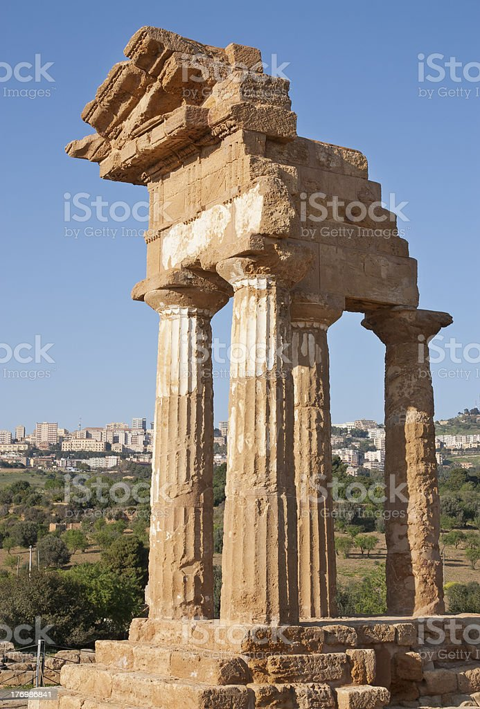 Temple of Dioscuri in Agrigento royalty-free stock photo