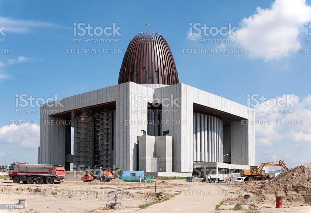 Temple of Divine Providence in Warsaw, Poland, under construction stock photo