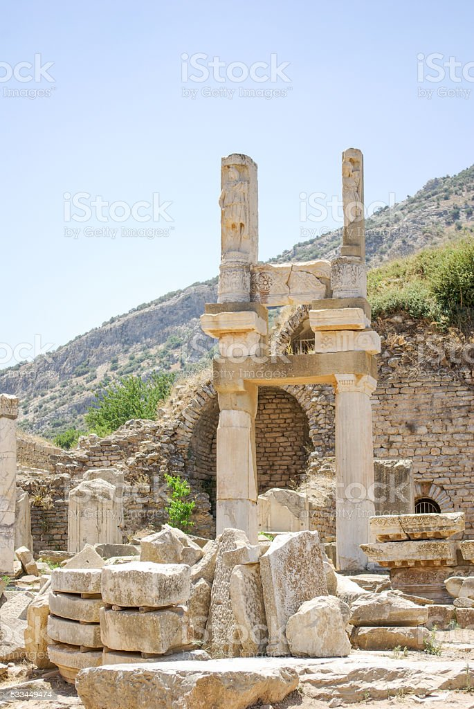 Temple of Domitian of Ephesus stock photo