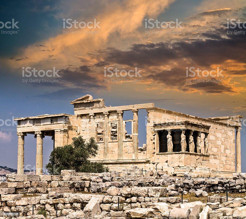Temple of Erechtheum, Acropolis, Athens, Greece stock photo