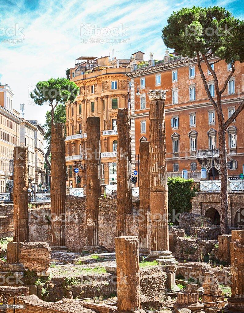 Temple of Fortuna Huiusce Diei at Largo di Torre Argentina stock photo
