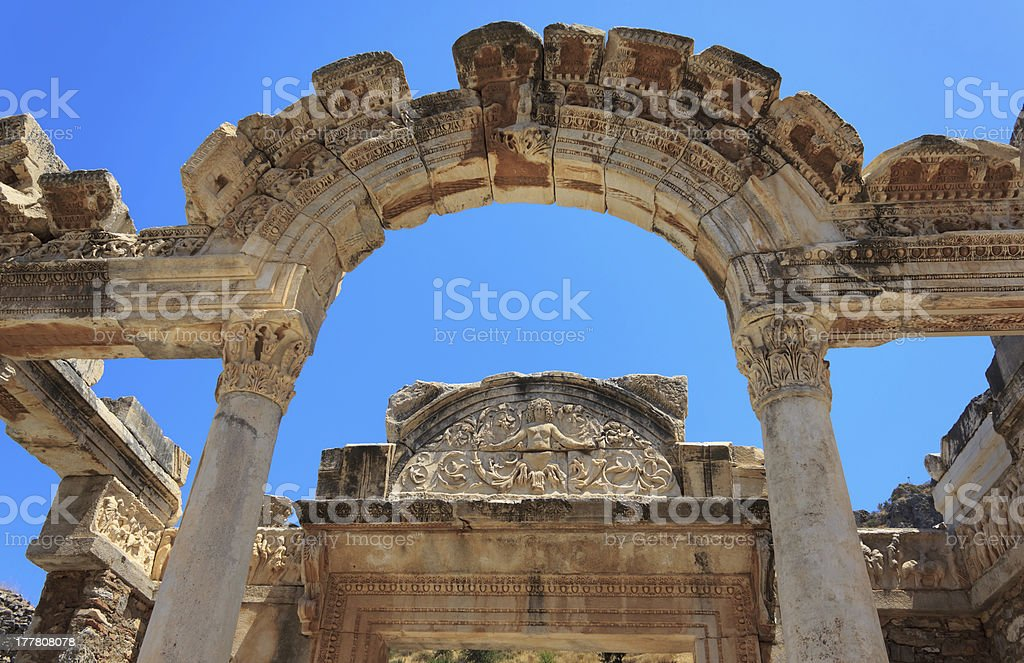 Temple of Hadrian, Ephesus, Turkey royalty-free stock photo