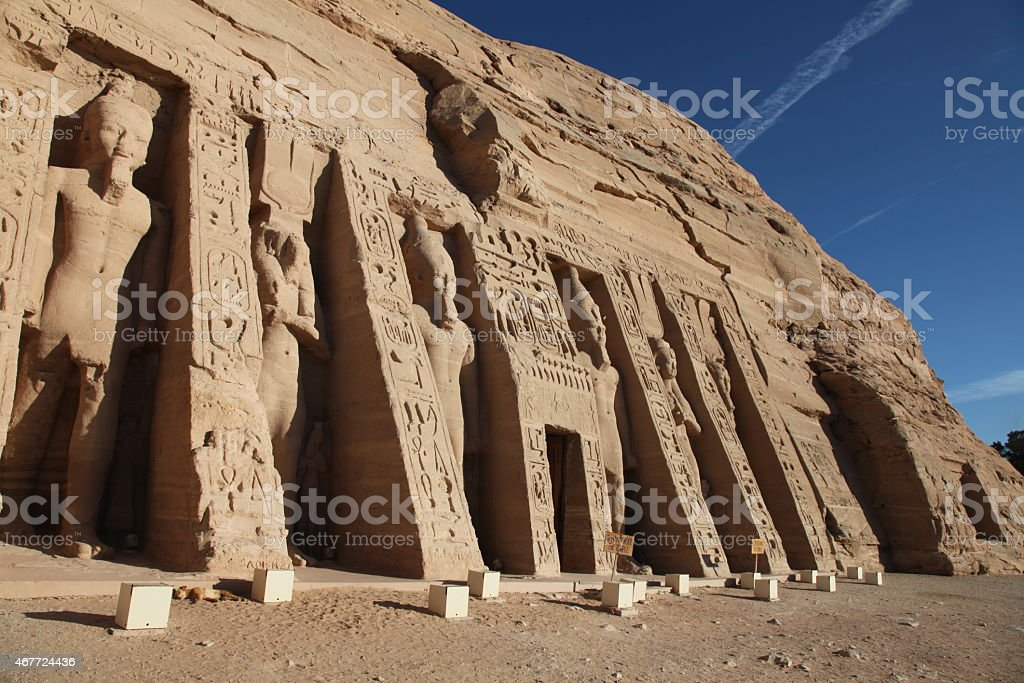 Temple of Hathor and Nefertari stock photo