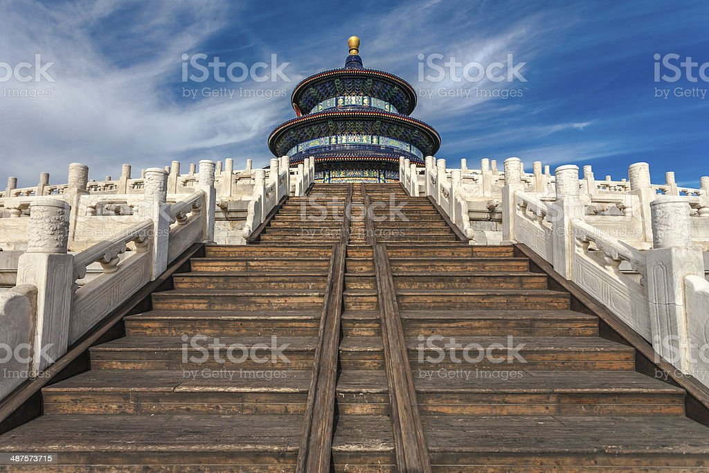 Temple of Heaven against blue sky stock photo