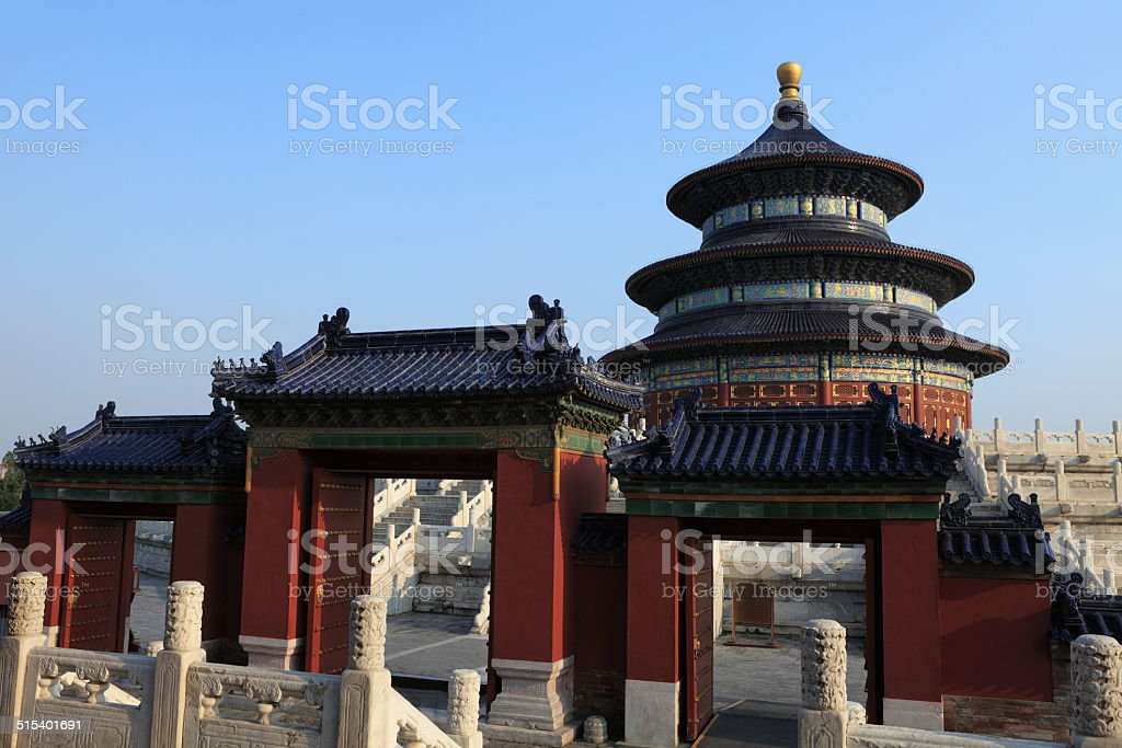 Temple of Heaven in Peking China stock photo