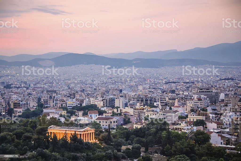 Temple of Hephaestus at Sunset royalty-free stock photo