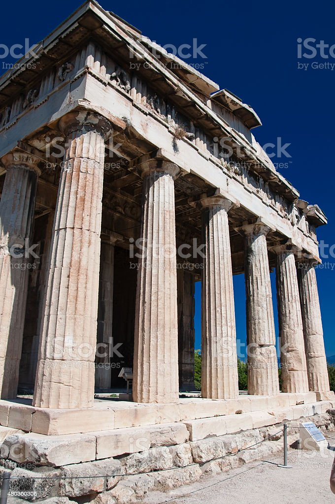 Temple of Hephaestus at the north-west side of the Agora. stock photo