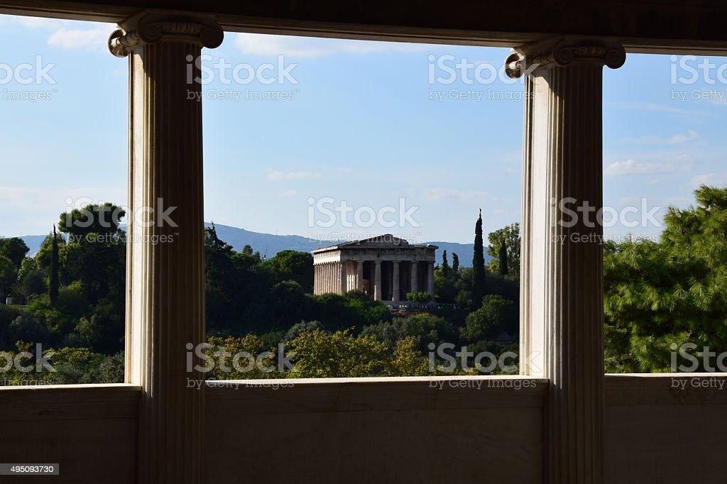 temple of hephaestus columns stock photo