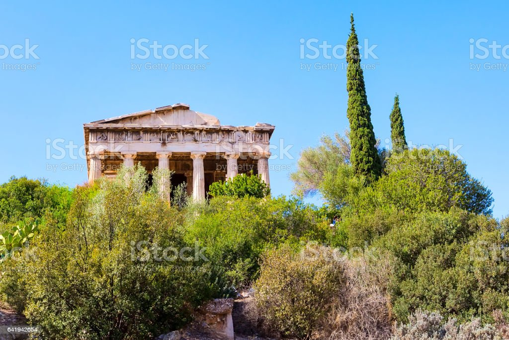 Temple of Hephaestus in Agora area within the Acropolis, Greece stock photo