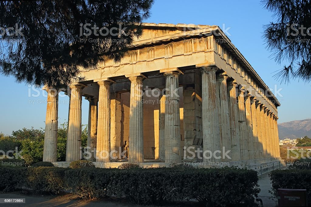 Temple of Hephaestus in Ancient Agora, Athens, Greece stock photo