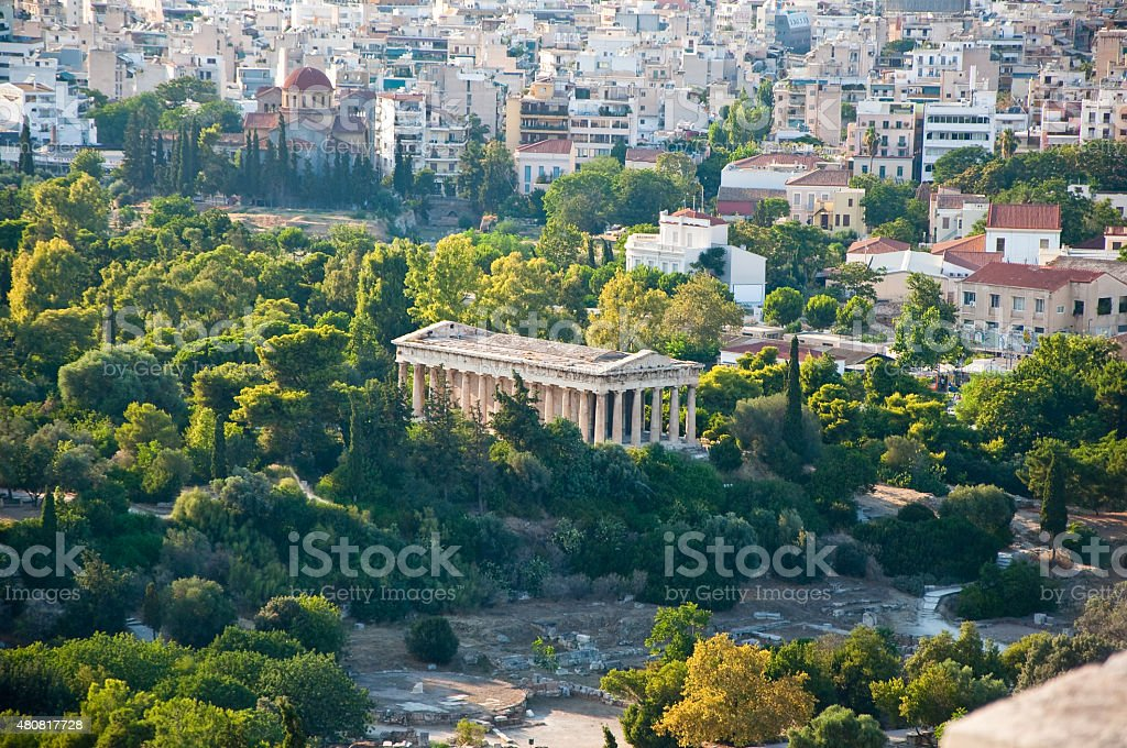 Temple of Hephaestus in ancient Agora from Areopagus. stock photo