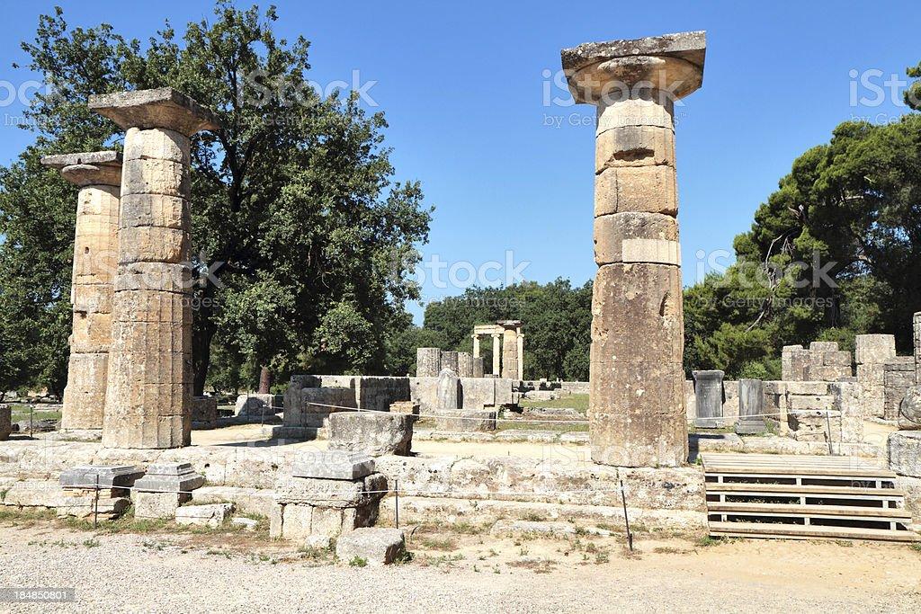 Temple of Hera, Ancient Olympia, Illia Region, Peloponnese, Greece stock photo
