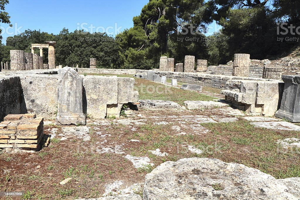 Temple of Hera, Ancient Olympia, Illia Region, Peloponnese, Greece royalty-free stock photo