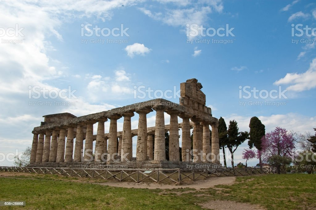 Temple of Hera at famous Paestum Archaeological UNESCO World Her stock photo