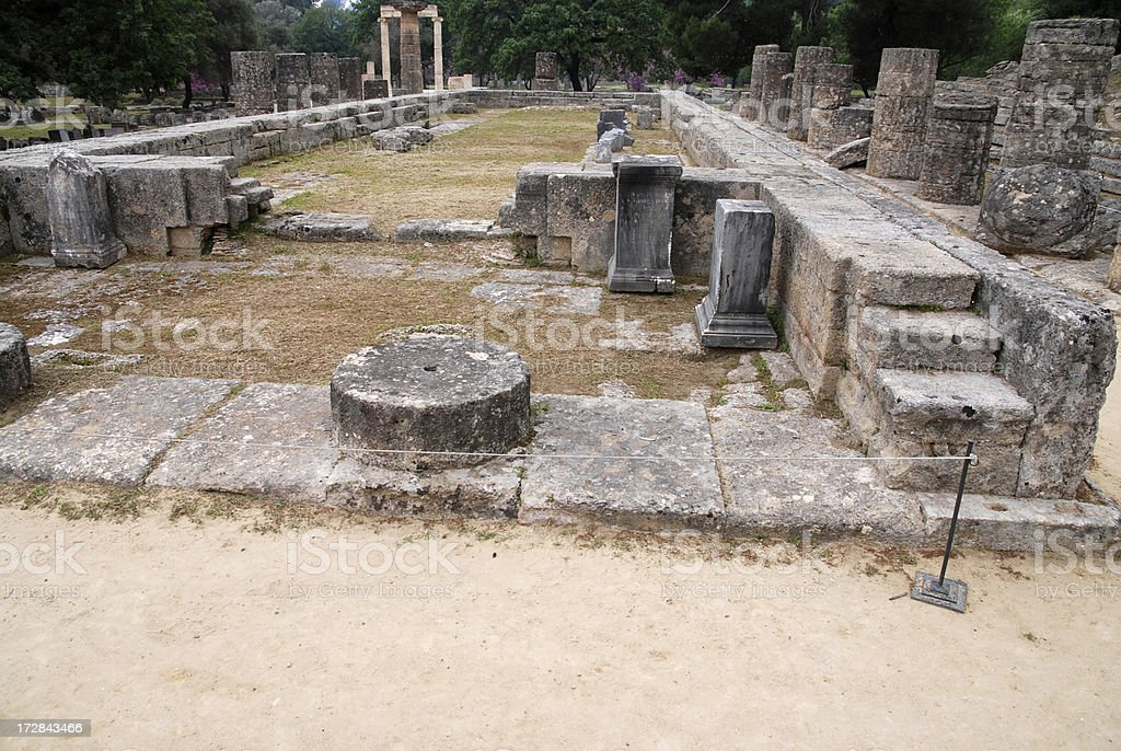 Temple of Hera at Olympia, Greece stock photo