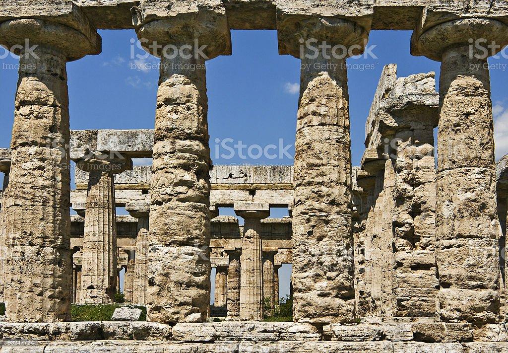 Temple of Hera colonnade, Paestum, Italy stock photo