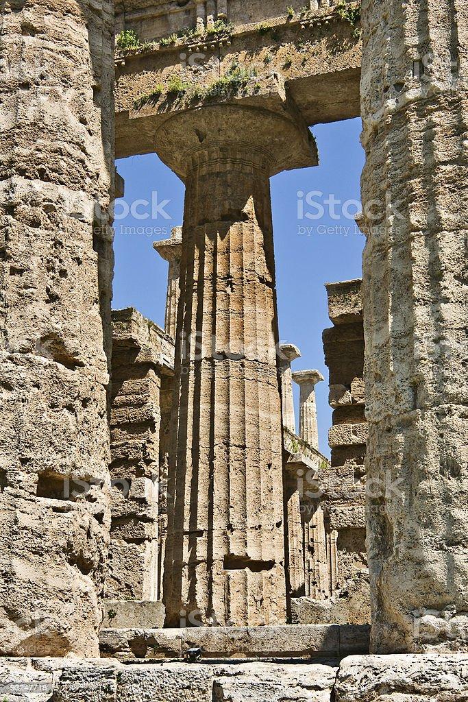 Temple of Hera columns, Paestum, Italy stock photo