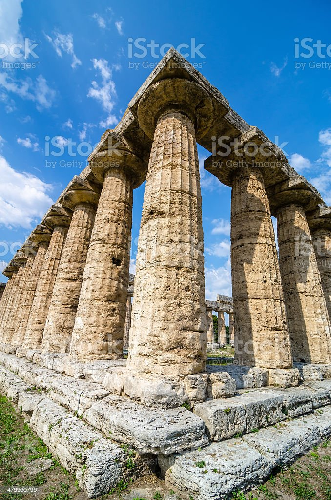 Temple of Hera the famous Paestum archaeological  site . Italy stock photo