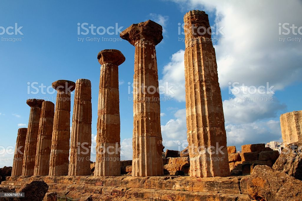Temple of Heracles Sicily Agrigento stock photo