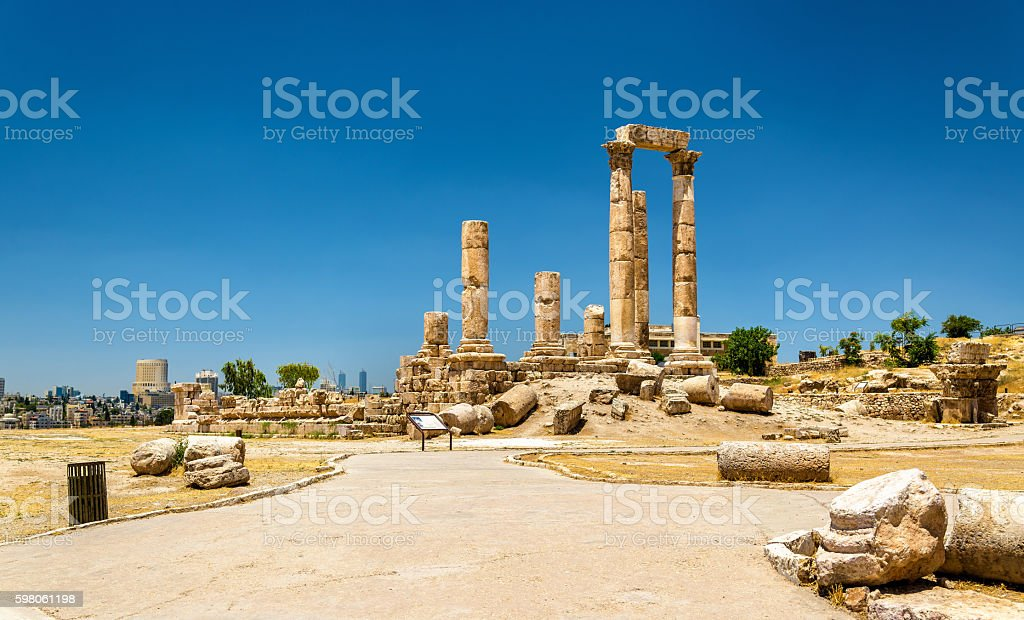 Temple of Hercules at the Amman Citadel, Jabal al-Qal stock photo