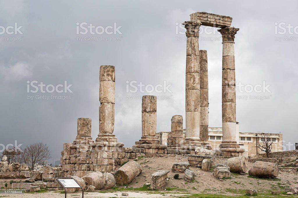Temple of Hercules in Amman antique citadel royalty-free stock photo