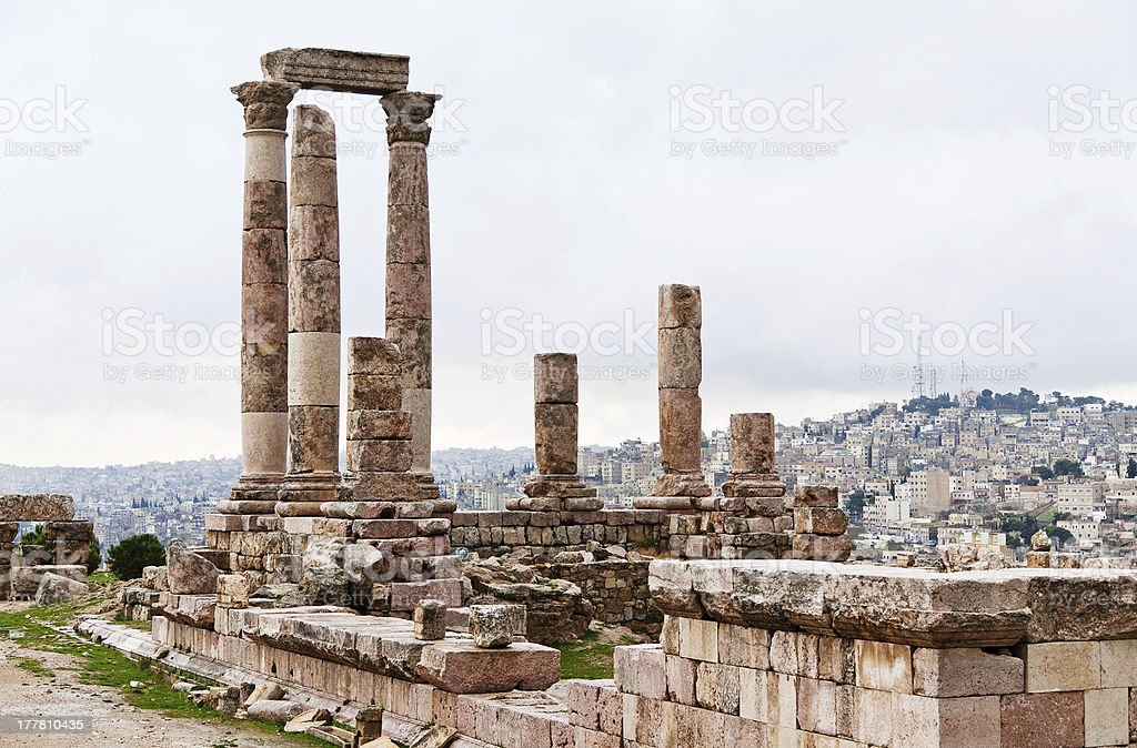 Temple of Hercules in antique citadel, Amman stock photo