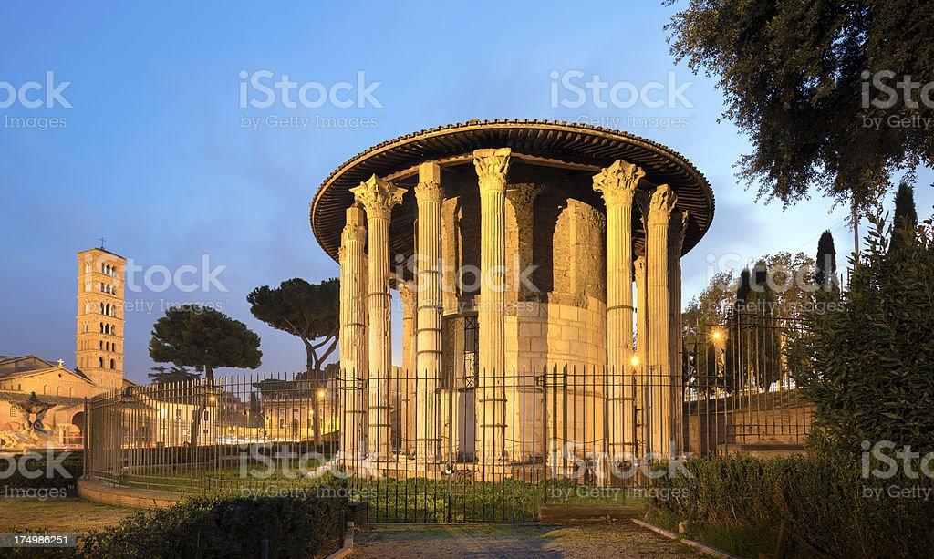 Temple of Hercules in Piazza Bocca della Verita , Rome Italy royalty-free stock photo