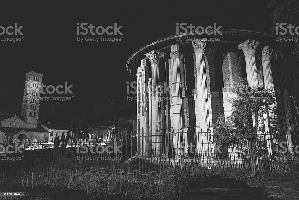 Temple of Hercules Victor in Rome at night stock photo