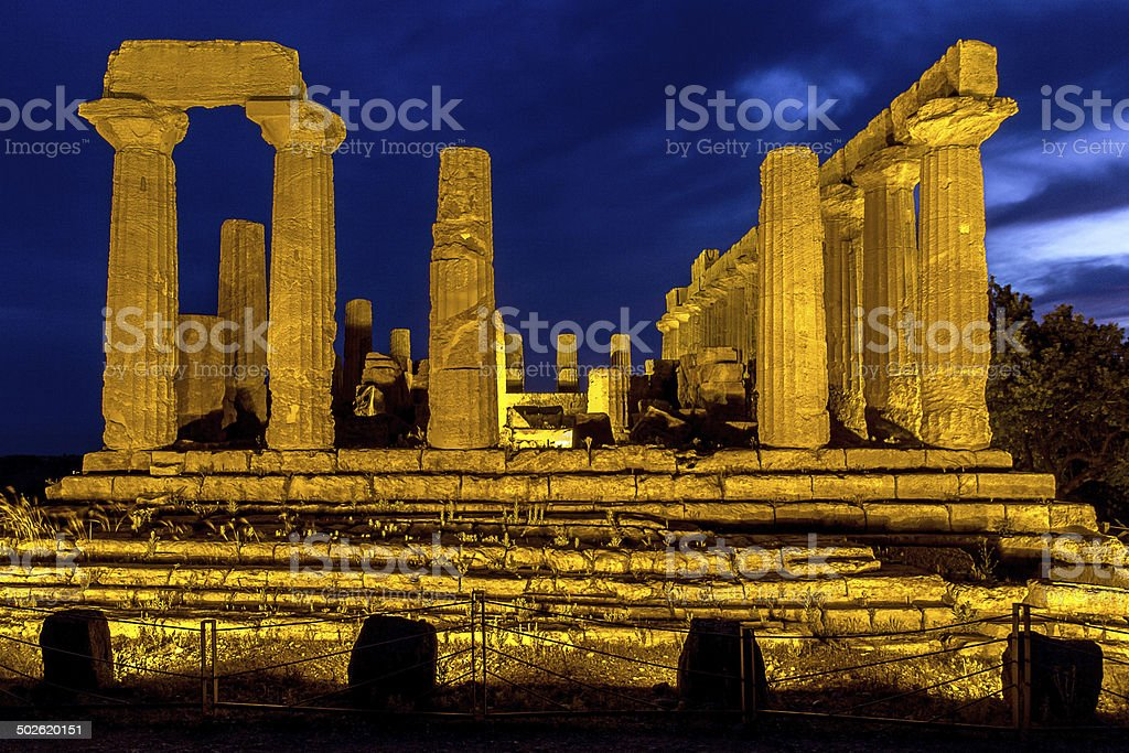 temple of Juno at night stock photo